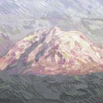 This was Mount Rainier in the style of Van Gogh