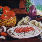 """Donna's pasta Acrylic on canvas paper 18""""x24"""". Pretty much off the top of my head. My family is half Italian, they eat a lot of pasta."""