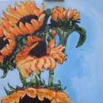 """Acrylic on canvas 16""""x20"""". This is the third in a series of sunflowers. I have done a few of them."""