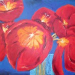 """Acrylic on canvas 30""""x40"""". This is a detail of Kendra's Tulips. I painted it from memory and discovered a photo of the original 2 years later."""